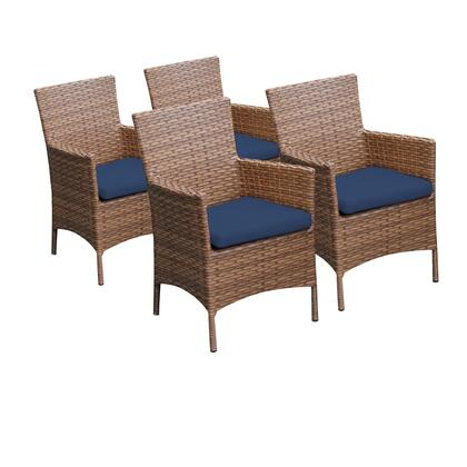 TKC093b-DC-2x-NAVY 4 Laguna Dining Chairs With Arms with 2 Covers: Wheat and
