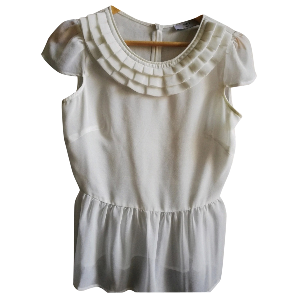 Non Signé / Unsigned \N Ecru Silk  top for Women 36 FR