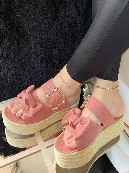 Milanoo Shoes Wedge Sandals Pink Nubuck Bow Rubber Sole Women\'s Summer Shoes
