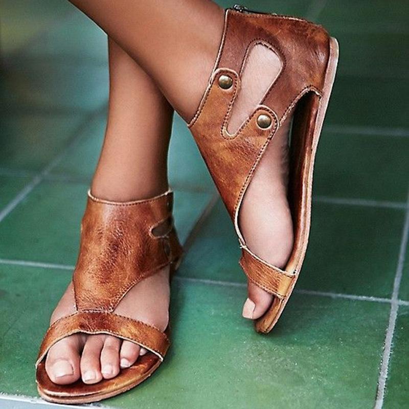 Ericdress Brown Rivets Heel Covering Flat Sandals