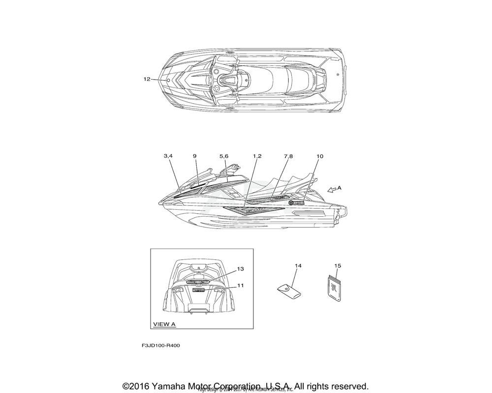 Yamaha OEM F3J-U417C-91-00 GRAPHIC 2   FOR BLACK