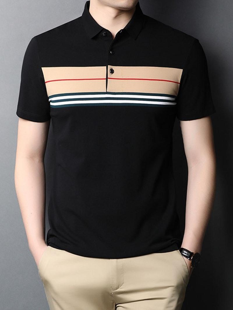 Ericdress Polo Neck Stripe Print Men's Shirt
