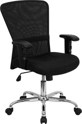 GO-5307B-GG Mid-Back Black Mesh Contemporary Computer Chair with Adjustable Arms and Chrome