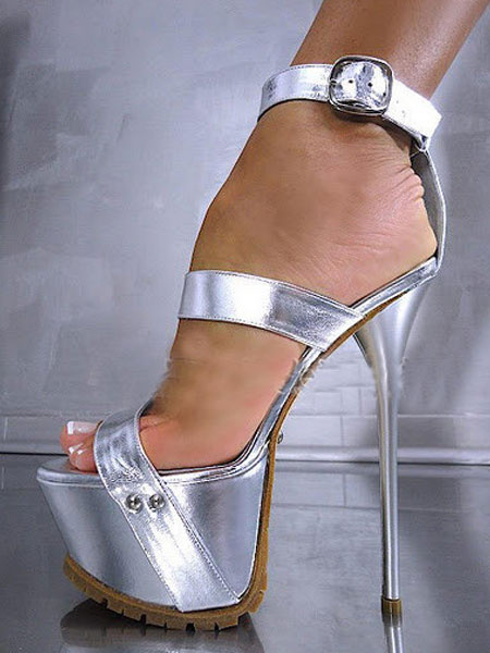 Milanoo Black Sexy Sandals High Heel Stiletto Open Toe PU Ankle Strap Women's Sandal Shoes