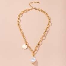 Disc & Faux Pearl Pendant Necklace