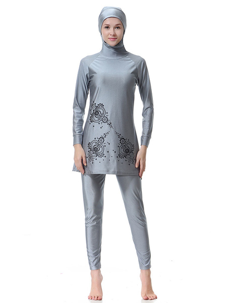 Milanoo Women Muslim Burkini Swimwear Long Sleeve Printed Hooded Beach Bathing Suit