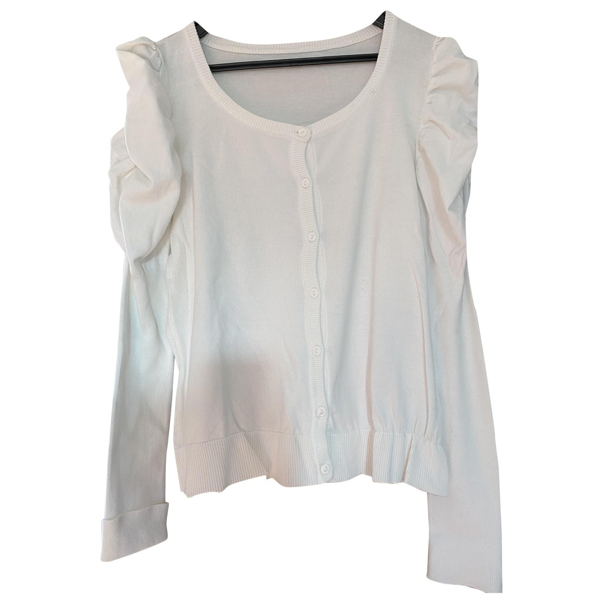 Non Signe / Unsigned Manche ballon Pullover in  Weiss Baumwolle