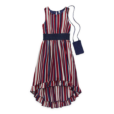 Beautees Casual Big Girls Sleeveless Striped Maxi Dress, 14 , Blue