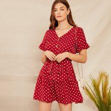 Kleid mit Knopfen vorn, Selbstguertel und Punkten Muster