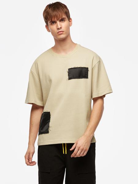 Yoins Khahi Patch Style Drawstring Waist Men's Casual T-shirt
