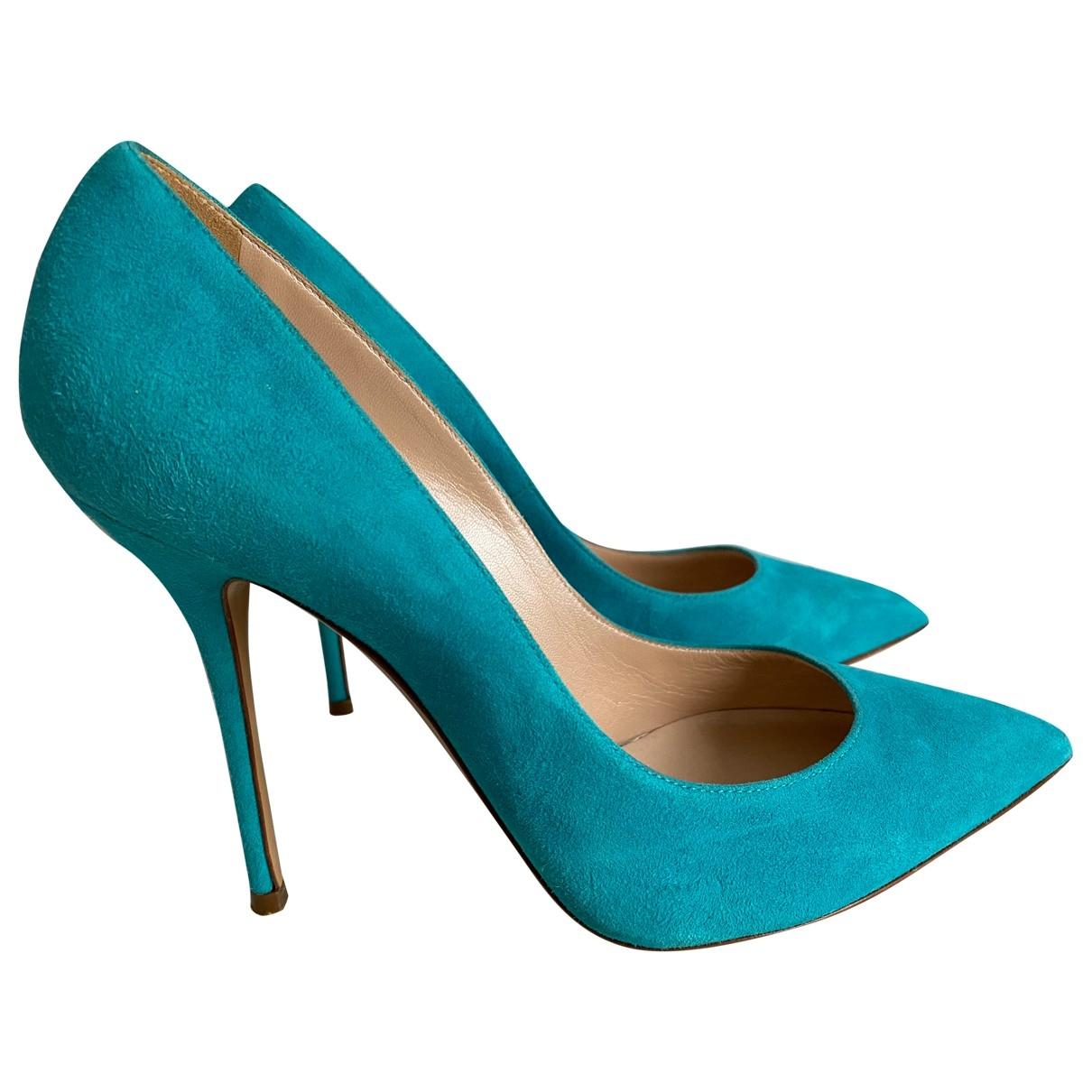 Casadei \N Turquoise Suede Heels for Women 38 EU