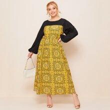 Maxi Kleid mit Schal Muster und Bischofaermeln