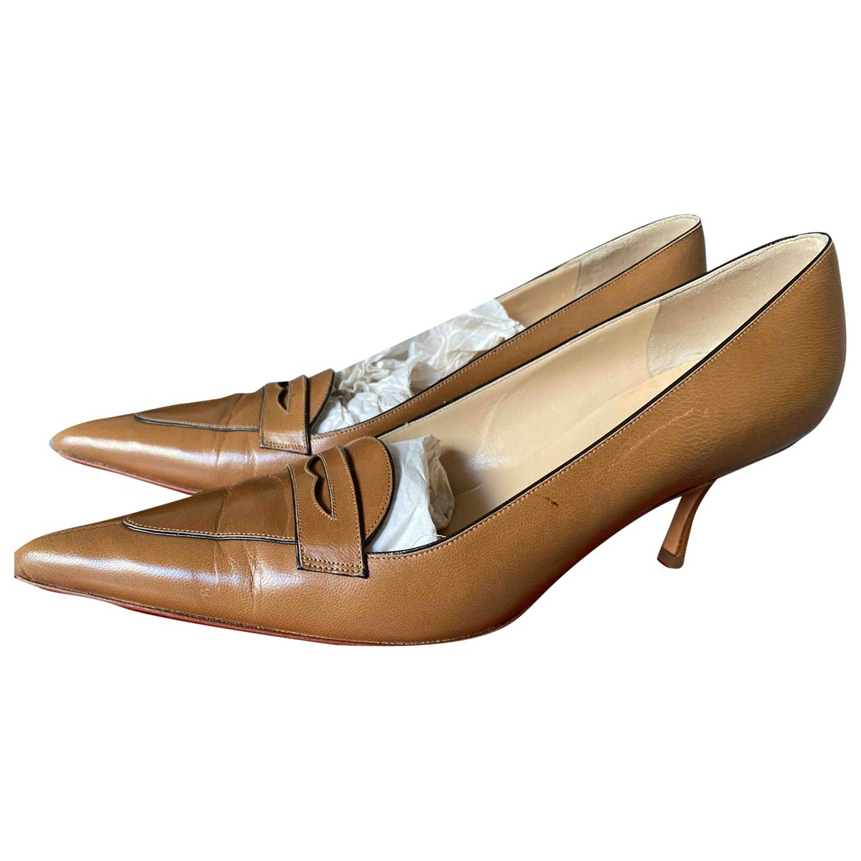 Valentino Garavani N Camel Leather Heels for Women 38 EU