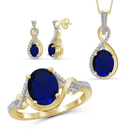 Diamond Accent Genuine Blue Sapphire 14K Gold Over Silver 3-pc. Jewelry Set, 7 , No Color Family
