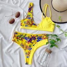 Random Chinese Dragon Print High Waisted Bikini Swimsuit