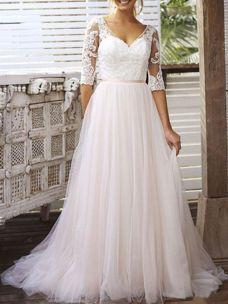 Milanoo Wedding Dress A Line V Neck Half Sleeves Lace Tulle Bridal Dresses With Train