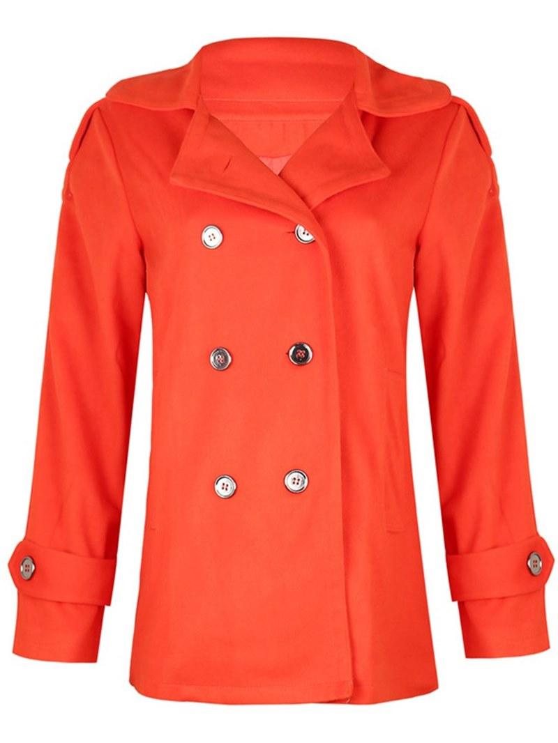 Ericdress Double-Breasted Plain Pocket Coat