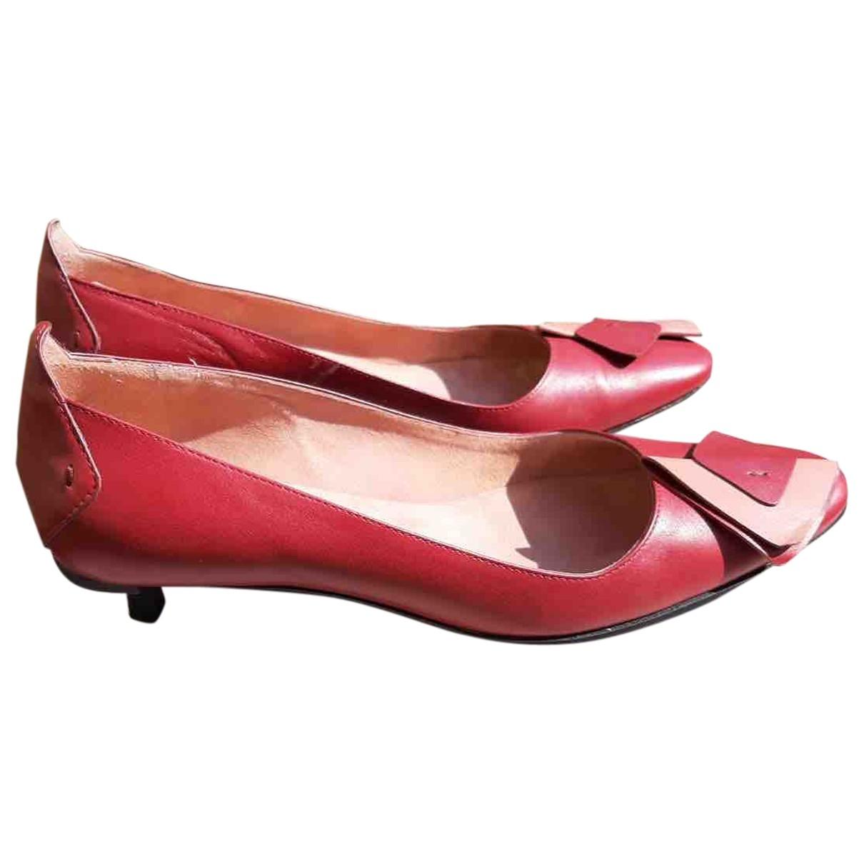 - Escarpins   pour femme en cuir - bordeaux