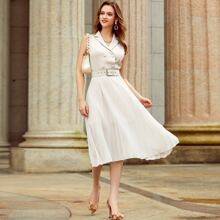 Button Front Belted Pleated Dress
