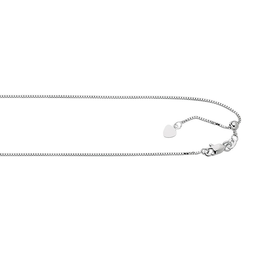 Italian 925 Sterling Silver 0.9mm Adjustable Box Chain Necklace (22