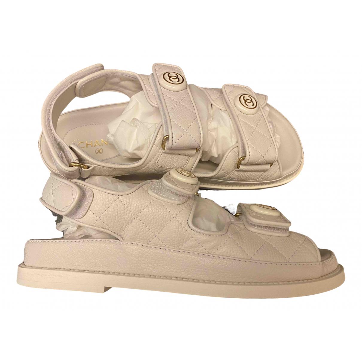 Chanel Dad Sandals Sandalen in  Weiss Leder
