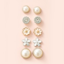5pairs Girls Floral Stud Earrings