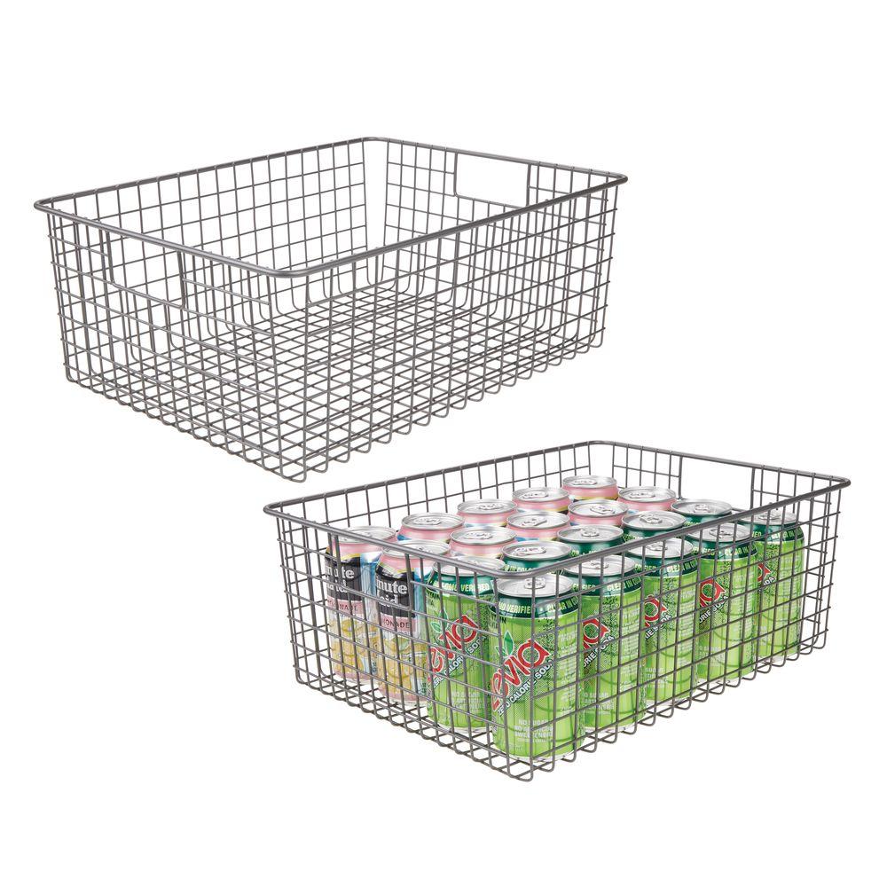 Wide Metal Wire Kitchen Pantry Food Storage Basket in Graphite Gray, 16