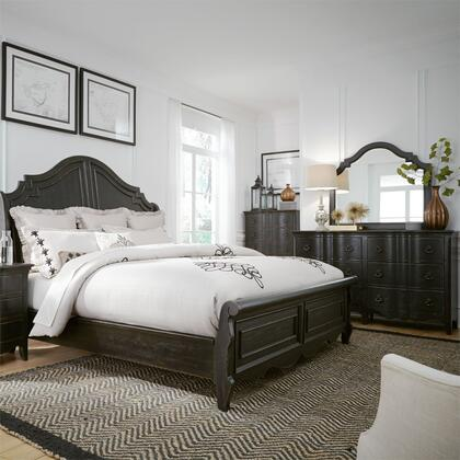 Liberty Furniture 493-BR-KSLDMC 4 Piece Bedroom Set with King Size Sleigh Bed  Dresser and Mirror  Chest in Wire Brushed Antique Black