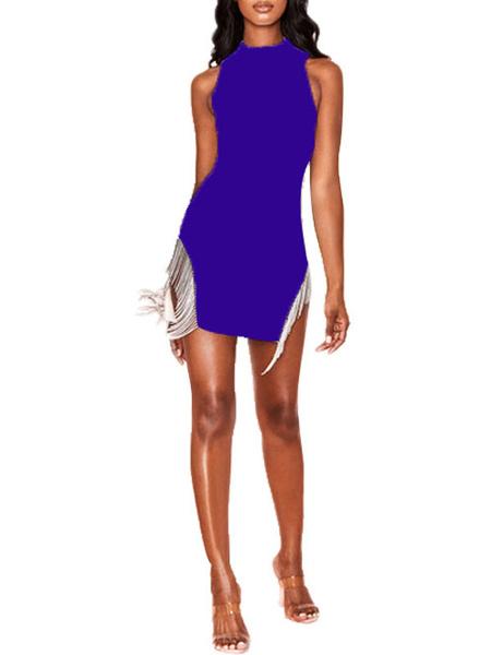 Milanoo Vestido de club para mujer Royal Purple Cuello alto Franja Sin mangas Poliester Irregular Split Vestido sexy