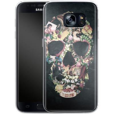 Samsung Galaxy S7 Silikon Handyhuelle - Vintage Skull von Ali Gulec
