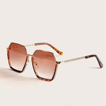 Metal Polygon Frame Tortoiseshell Sunglasses