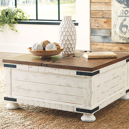 Signature Design by Ashley Wystfield Lift-Top Coffee Table, One Size , White