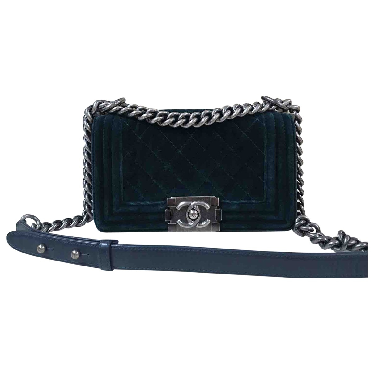 Chanel Boy Green Velvet handbag for Women \N