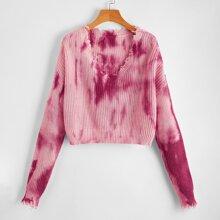 Drop Shoulder Tie Dye Distressed Sweater