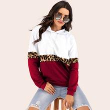 Verschiedenfarbig Ziehbaendchen Leopardenmuster  Laessig Sweatshirts