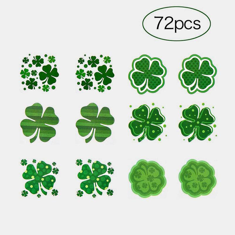 St. Patrick's Day Party Tattoo Stickers Set Trendy Geometric Wave Dot Clover Sticker Cute Sticker