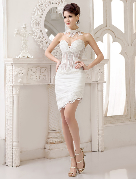 Milanoo Ivory Lace Beading Sweet Heart Neck Mini Wedding Dress