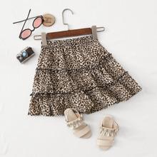 Maedchen Rock mit Rueschenbesatz und Leopard Muster