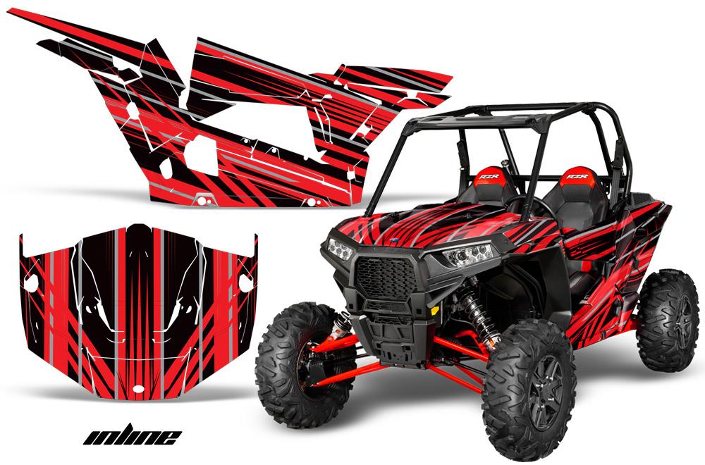 AMR Racing  Full Custom UTV Graphics Decal Kit Wrap Inline Red Polaris RZR 1000 13-18
