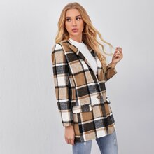 Peak Collar Plaid Overcoat