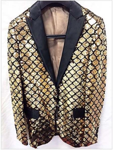 Mens Gold Shiny Flashy Fashion Sequin Blazer  Sport coat Dinner Jacket
