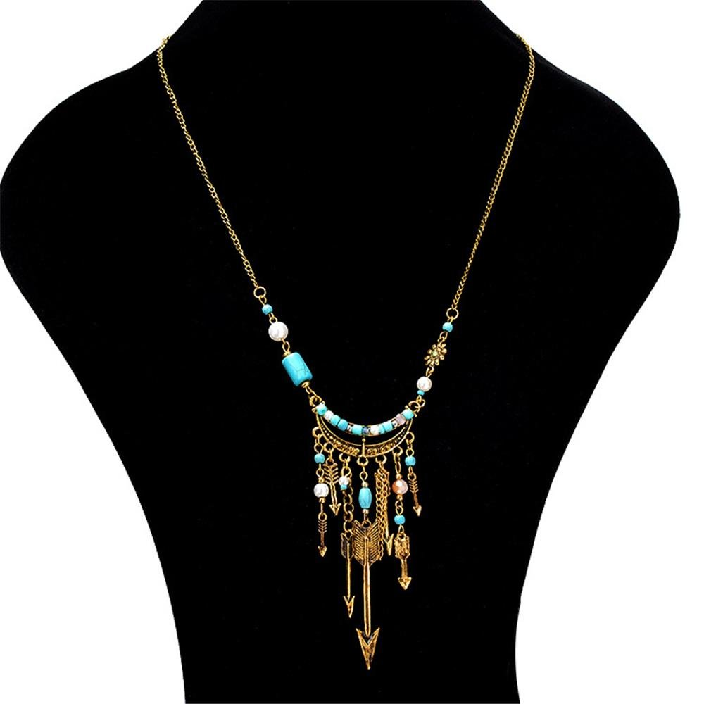 Bohemian Pendant Necklace Beads Chain Arrows Tassels Sweater Charm Necklace Ethnic Jewelry for Women
