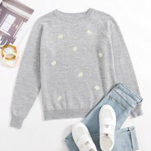 Pullover mit Raglanaermeln und Blumen Stickereien