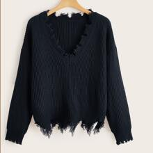 Einfarbiger Pullover mit V-Kragen und ausgefranstem Saum