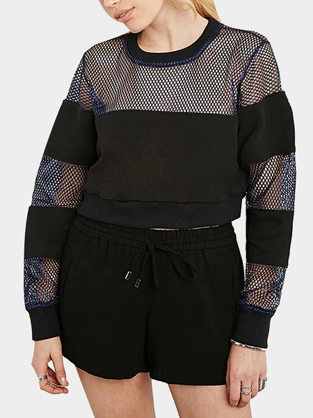 Yoins Mesh Insert Baseball Crop Sweatshirt in Black