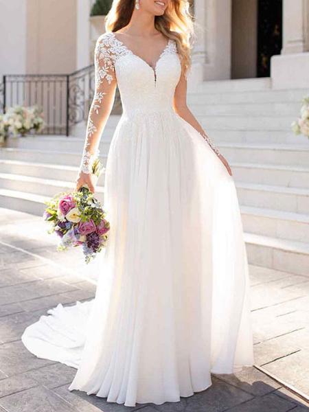 Milanoo wedding dresses 2020 chiffon v neck a line long sleeve lace applique beach wedding bridal dress with train