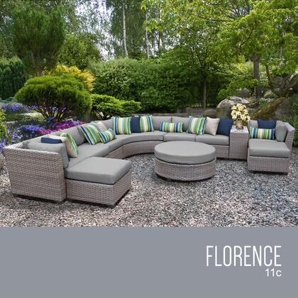FLORENCE-11c-GREY Florence 11 Piece Outdoor Wicker Patio Furniture Set 11c with 2 Covers: Grey and