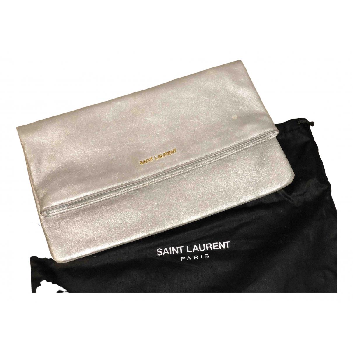 Saint Laurent \N Silver Leather Clutch bag for Women \N