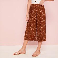 Maedchen Hosen mit Punkten, weitem Beinschnitt und Plissee