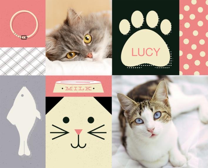 Pets 8x10 Wood Panel, Home Décor -Cat Collage